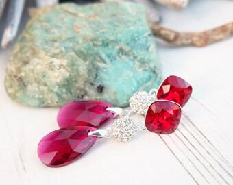 Long Sterling Silver Swarovski Crystal Earring Jewellery-Dangle Drop Bridesmaids Wedding Earrings-Square Teardrop Ruby Red Deep Red Earring