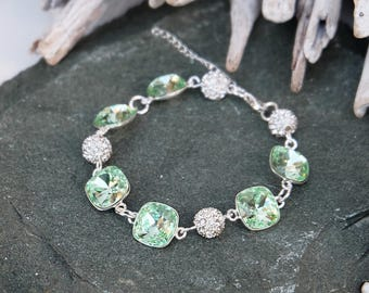 Light green Swarovski crystal bracelet Sterling Silver jewellery Green crystal wedding bridal bridesmaid bracelet Square cushion cut crystal