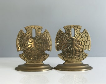 Vintage Brass Sand Dollar Bookends