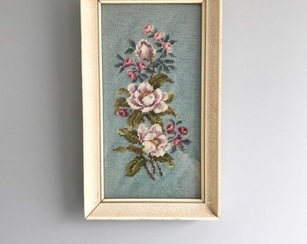 Vintage Floral Needlepoint Wall Hanging Blue and Pink