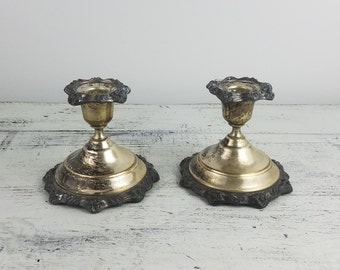 Silver Candlestick Holders, decoration, tabletop, pair