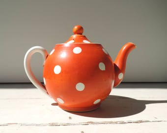 French Vintage Teapot/Vintage Teapot/ Red And White Polka Dot Teapot By Sarreguemines/Red And White Ceramic Teapot/Sarreguemins Teapot