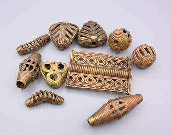 Ashanti Brass Beads - African Metal Beads - Huge Beads - Ethnic Bead Assortment - 10 Beads (2)