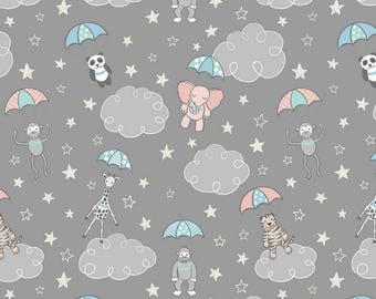 Lewis & Irene Welcome to the World A215.2 Parachuting Babies Patchwork Quilting Dressmaking Fabric