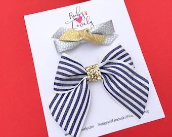Baby/Girls Summer Clips, Nautical Bows, Nautical Headbands, Summer Headbands, Sailor Bows, Clip Set, Silver Gold Bow, Bow Set, Summer Bows