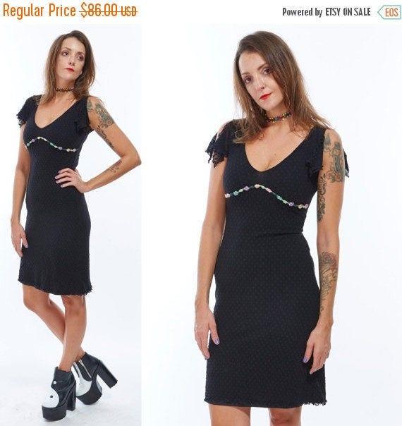 Vtg 90s Designer BETSEY JOHNSON Mini DRESS Wiggle Bodycon Bandage Stretchy Roses Polka Dot Pin Up Grunge Babydoll Mesh Semi Sheer Goth Dolly