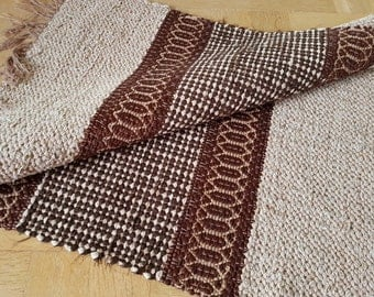 Swedish Handwoven rag rug. Carpet, traditional nordic folk craft. Including shipping. Coffee - chocolate.