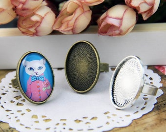 Vintage style ring blanks oval 25*18mm, adjustable DIY brass rings creations, ring design findings No.B25760