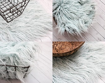 Faux fur, Newborn photo prop, Flokati fur, Fur rug, Basket stuffer, Dusty Blue Faux Fur Nest Photography Prop Rug Newborn Baby Toddler