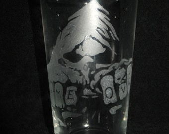 Personalised Hand Engraved Pint Glass Engraved With Grim Reaper