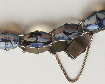 Vintage Norway Sterling Enamel Guilloche Bracelet Midnight Sun