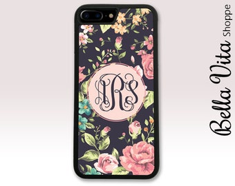 Pretty Floral Roses Monogram iPhone Case, Monogrammed iPhone 6 Case, Monogram iPhone 6S Case, Personalized iPhone Case 1271 I6S