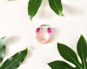 Miniature Serape Yarned Horseshoe keychain/ bag flair in pastel pink