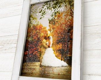 First Dance Lyrics Frame, First Dance Lyrics Canvas, Custom Wedding Gift, Anniversary Gift, with Handcrafted Cottage Chic Frame