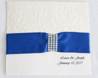 Royal blue bling wedding invitation
