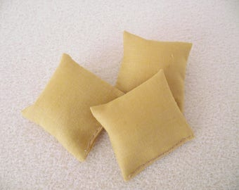 Miniature doll house 12th scale sofa or scatter cushions x 3 mustard - old gold plain fabric