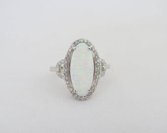Vintage Sterling Silver White Opal & White Topaz Halo Ring Size 9