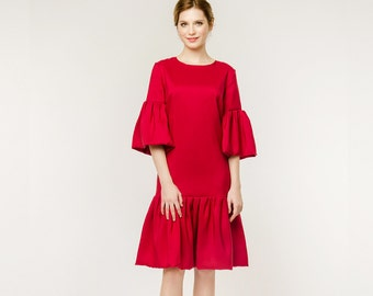 Sale!!! Vikki / silk red bridesmaid dress red bridesmaid dress red silk wedding dress bridal dress short wedding gown, victoria spirina
