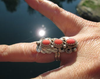 Native American J. Morry Coral and Sterling Silver Ring Size 6