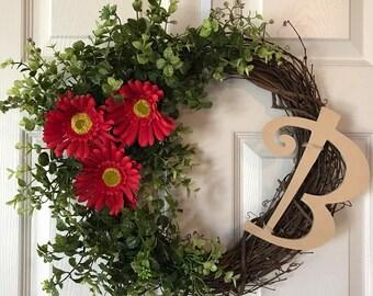 DAISY  WREATH, Grapevine Daisy Wreath, Summer Wreath, Year Round Wreath,Monogram Wreath, Front Door Wreath,Spring Wreath