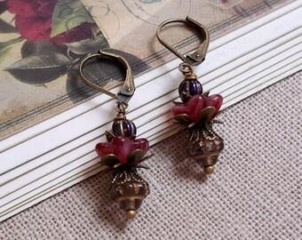 Cottage chic earrings Flower earrings Champagne and red Czech glass dangle earrings