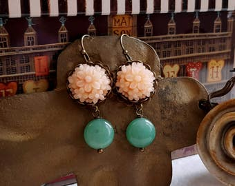 Chalcedony Antiqued inspired soft peach floral dangling earrings Spring earrings Mother's day gift