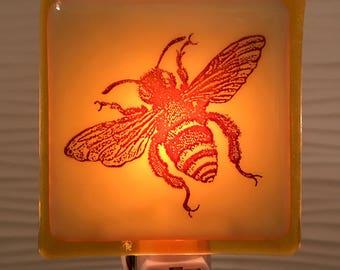 Fused Glass Honey Bee Night Light in Honey
