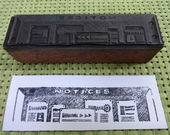 Old Vintage  / Antique? Letterpress Printing Block Notices sign