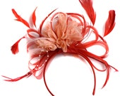 Red and Peach Nude Fascinator on Headband Alice Band UK Wedding Ascot Races Derby
