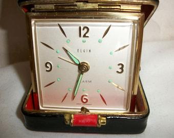 Vintage Elgin Travel Alarm Clock made in West Germany (#0610)