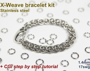 X-Weave Bracelet Kit, Chainmaille Kit, Stainless Steel, Chainmail Kit, DIY Kit, Jump Rings, Chainmaille Bracelet, Chainmaille Tutorial