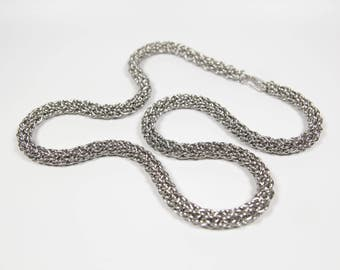 Candy Cane Cord Necklace, Chainmaille Necklace, Stainless Steel, Chainmail Necklace, Chain Maille, Mens Necklace, Mens Jewelry, Handmade