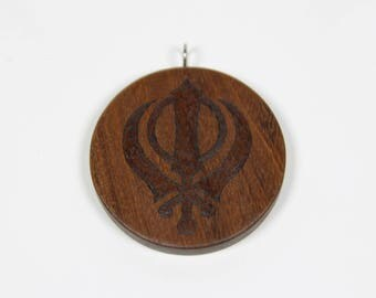 Wooden Khanda Pendant, Khanda Necklace, Sikh Punjabi Symbol, Wooden Pendant, Wood Pendant, Pyrography, Wood Burning, Personalized Pendant