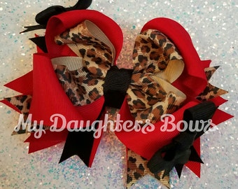 Red black and Cheetah print OTT hairbow - Boutique Hair Bow - Christmas Valentine Hair Bows - Birthday Hairbows - Cute Animal Print