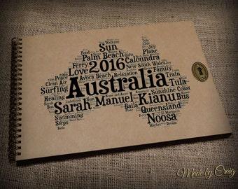 Personalised Australia Travel Album, Scrapbook, Photo Album, Family Holiday, Wedding/Honeymoon Gift Idea