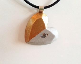 Fancy and trendy concrete jewellery in a heart shape
