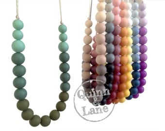 Silicone Teething Necklace Choose Colour - Bite Beads Nursing Necklace  - Teether Beads - Chew Jewelry Beads  - Gorgeous Gradientsr