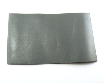 """Grey Leather - 4"""" X 6"""" Square Grey Split Leather - Glossy Grey Craft Leather - Cowhide leather - Genuine Leather - Leather Remnant"""