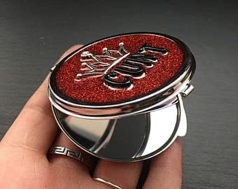 Sparkly Compact Mirror, Mature Content, Make Up Mirror, Compact Mirror, Pocket Mirror, Quirky Compact Mirror, Red Mirror, Gothic Gifts