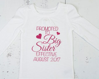 Promoted to Big Sister Shirt, Pregnancy Announcement Shirt, New Baby Announcement Shirt, Big Sister Announcement