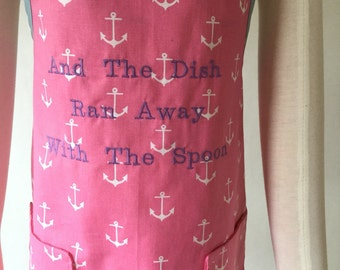 Girl's Reversible Apron, Pink Apron, Kid's Play Apron, The Dish Ran Away With The Spoon
