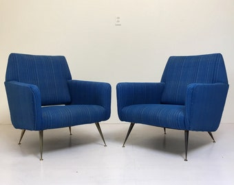 Pair of Gio Ponti Style Chairs Mid Century Modern Chairs