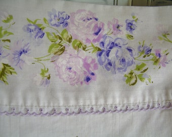 Vintage King Size Flat Sheet with Romantic Lavender Purple Roses at Top Border and Scattered by JC Penney Fashion Manor Muslin Made in USA