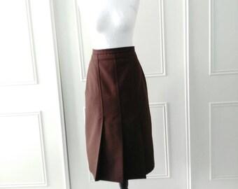 CLEARANCE Julian Henly London 1980's vintage skirt knee length skirt brown box pleated skirt ladies skirt size 12 size 14