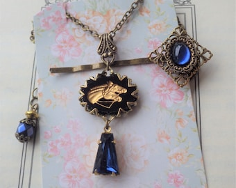 Horse Necklace ~ Art Deco Style ~ Sapphire Blue ~ Equestrian Jewelry ~ Horse Jewelry ~ Pendant ~ Vintage Glass ~ by LadyofTheLakeJewels
