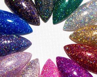 Stiletto Nails - Gel Press On Nails - Pointy Glue On Nails - Holographic Faux Nails - Holo False Nails - Claw Acrylic Nails - Design Nails