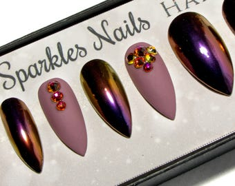 Matte fake nails stiletto press on nails pointy glue on matte false nails chrome stiletto nails crystal press on nails pointy fake nails prinsesfo Image collections