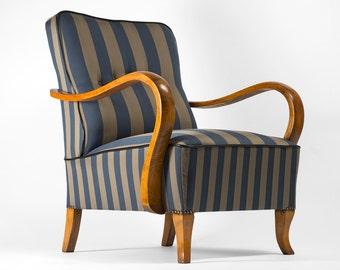 Striped Art Deco armchair  - full restored
