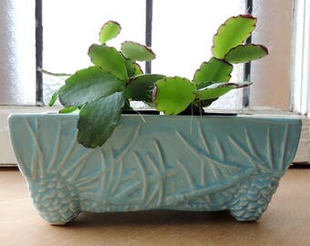McCoy Window Box Rectangular Pinecone Planter Vintage 1940's Dish Garden Succulent Planter