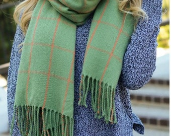 Dark Mint Green with Coral Grid Blanket Tassel Long Over Sized Scarf Winter Women's Accessories